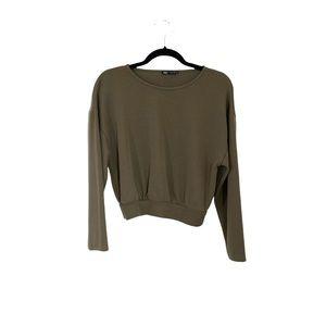 ZARA Olive Green Cropped Sweatshirt